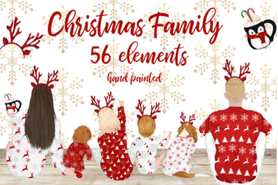 Christmas clipart,Christmas Family movie night, Xmas pajamas