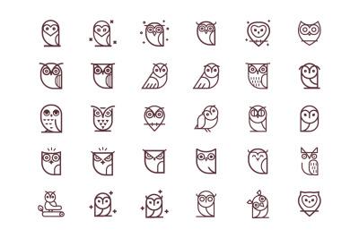 Owl Vector Icon Collection