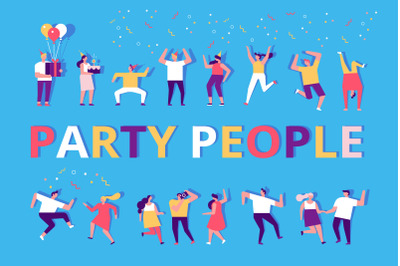 Party people flat vector set