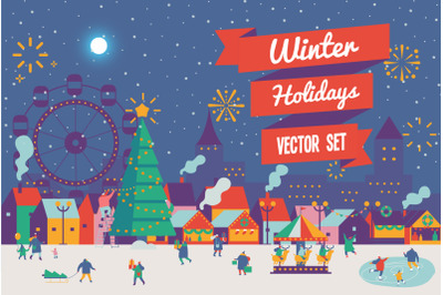 Winter holidays vector set