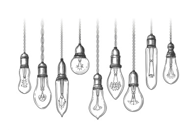 Vintage lightbulbs sketch