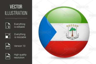 Round glossy icon of Equatorial Guinea