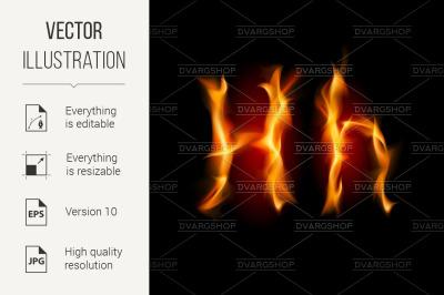 Fiery font. Letter H