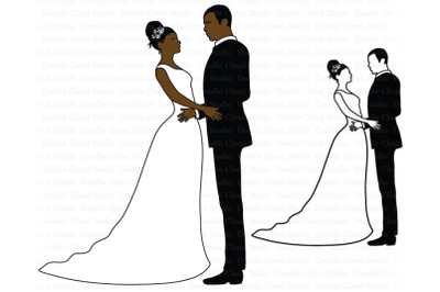 Wedding SVG, Bride and Groom SVG, African American Wedding  SVG.