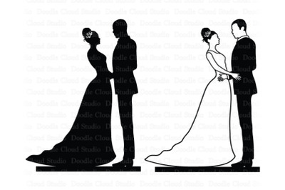 Wedding Cake Topper, Bride and Groom SVG,  Black Couple, Wedding PNG.