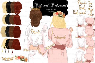 Bridesmaid Clipart Bride Robe Clipart Best Friends Clipart Bride Tribe