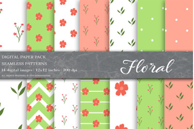 Floral Digital Papers, Floral Patterns