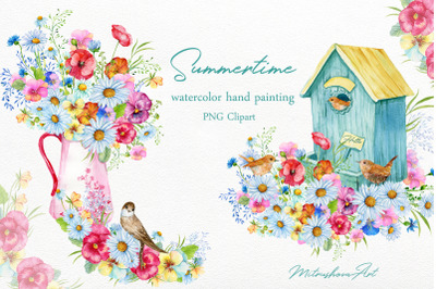 Summertime.Watercolor Clipart