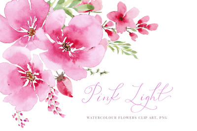 Watercolour pink flowers and greenery, Wedding clipart,