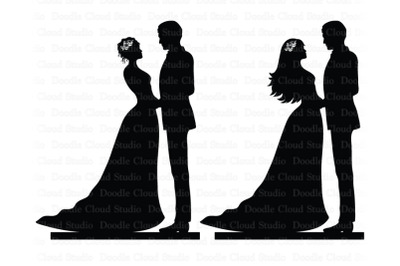 Couple Cake Topper SVG, Bride and Groom SVG.  Wedding Decoration. Wedd