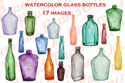 Watercolor Bottles, BOTTLES CLIPART, Kitchen clipart