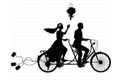 Wedding Tandem Bike Bride and Groom SVG.