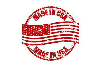 Made in USA rubber stamp with flag. Fabricated in america