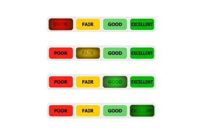 Credit score bar indicator, lighting button