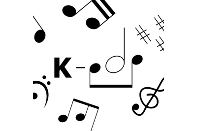 K-pop music style. Simple art banner with musical notes