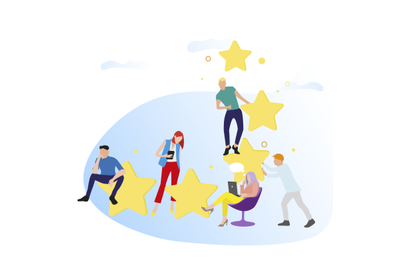 People give feedback and rate stars. Vector customer review