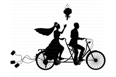 Wedding Tandem Bike Bride and Groom SVG, Black Couple SVG.