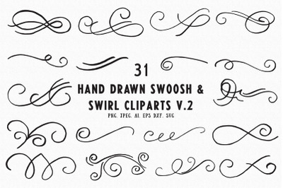 30+ Hand Drawn Swoosh & Swirl Cliparts Ver. 2