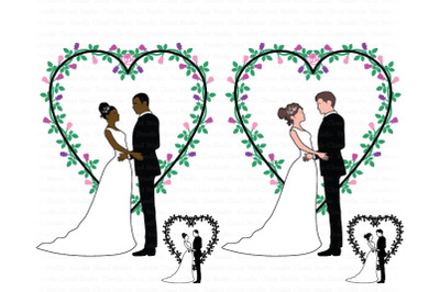 Wedding Couples SVG, Bride and Groom SVG, Wedding Heart Clipart.