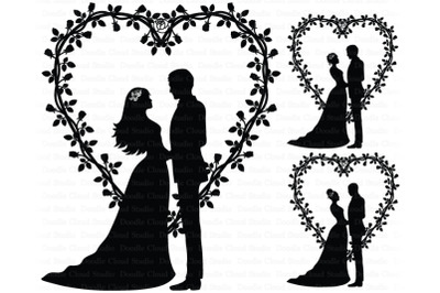 Wedding Heart, Bride and Groom,  Cake Topper, Wedding Clipart.