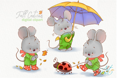 Fall clipart. Cute mouse clip art. Little mouse illustrations, Autumn