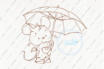 Mouse coloring page. Fall digital stamp.