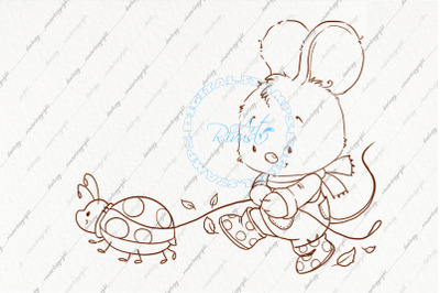 Digi stamp. Fall clipart. Cute mouse coloring page. Contour