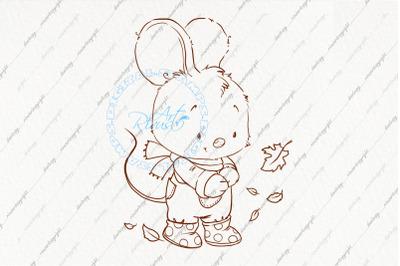 Digital stamp. Cute mouse coloring page.. Contour illustration, colori