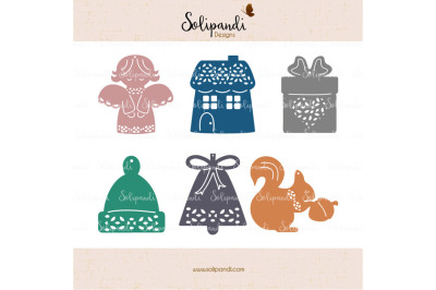 Xmas Ornaments Bundle - SVG and DXF Cut Files - for Cricut, Silhouette, Die Cut Machines // scrapbooking // paper crafts // solipandi //#246
