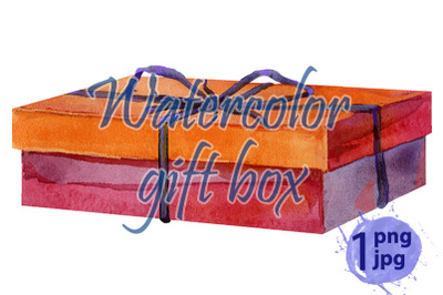 Watercolor painting of gift box with a bow.