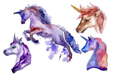 Unicorn animal world watercolor png