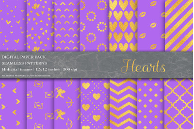 Gold Valentines Day Digital Papers