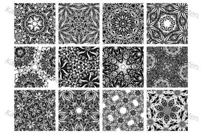 A set of square hand-drawn patterns