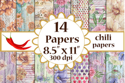 Wood Paper, Floral Paper, Shabby digital paper, A4 papers