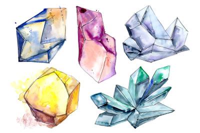 Precious crystals watercolor png