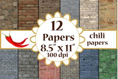 Brick Digital Paper, Brick textures, Brick Wall Backdrops A4