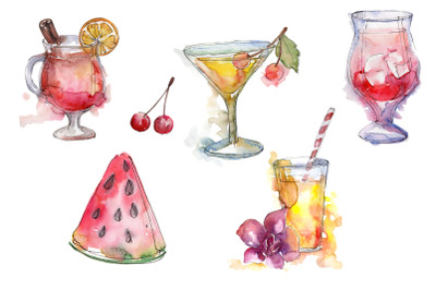 Cocktail fruit manito watercolor png
