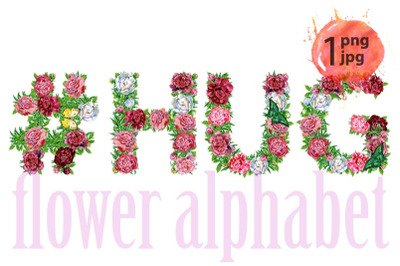 Hashtag sign with word HUG of watercolor flowers for decoration