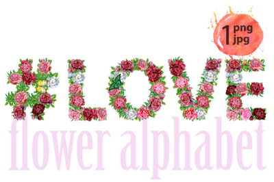 Hashtag sign with word LOVE of watercolor flowers for decoration