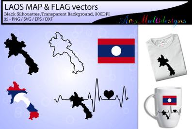 Laos map SVG / Laos Flag SVG / Laos map silhouette vector / Laos icon