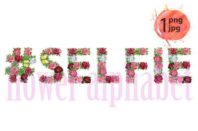 Hashtag sign with word SELFIE of watercolor flowers for decoration
