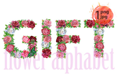 Word GIFT of watercolor flowers