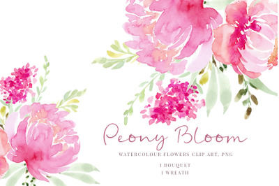 Watercolour clipart, Pink flowers, Peonies and greenery