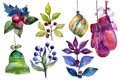 Collection of happiness Christmas watercolor png