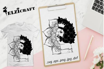 Afro Girl Mandala, Zentangle Silhouette SVG Cut File