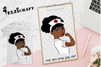 Afro Girl Rosie The Riveter Nurse Life SVG Cut File