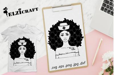 Afro Girl Nurse Life Silhouette SVG Cut File