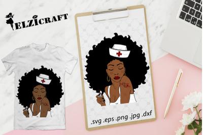 Afro Woman Nurse Life SVG Cut File