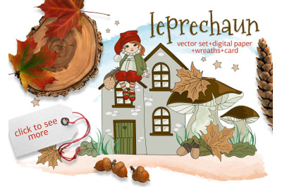LEPRECHAUN Cartoon Fairy Tale Vector Illustration Set