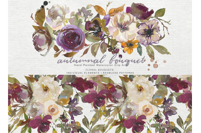 Autumn Colors Flowers Clipart Watercolor Leaf Clipart Ivory Wine Brown